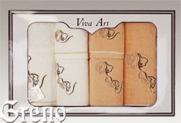 6 Ręczników Haftowanych w Ozdobnym Pudełku Viva Art VI Greno honey, deco