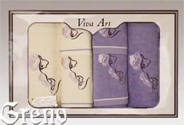 6 Ręczników Haftowanych w Ozdobnym Pudełku Viva Art VI Greno lila, deco