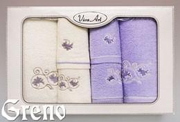 6 Ręczników Haftowanych w Ozdobnym Pudełku Viva Art VI Greno lila, ornament