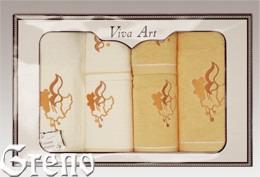 6 Ręczników Haftowanych w Ozdobnym Pudełku Viva Art VI Greno żółty, dzwoneczek