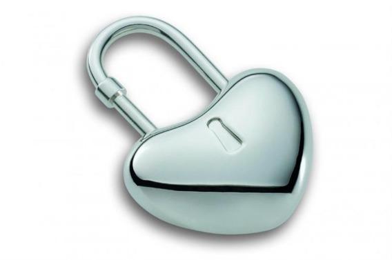 Brelok kłódka,serce H 5 cm