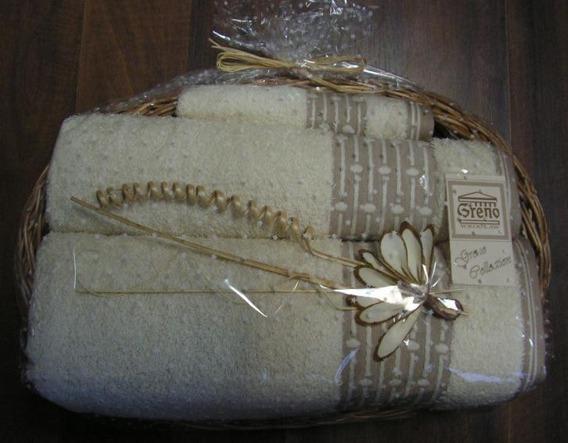 Komplet 3 ręczników z Bawełny Egipskiej LINEN Greno na ozdobnej tacce kwiatki