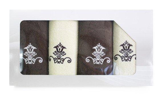 Komplet 4 ręczników Greno Viva Krem Brąz Wzór 2