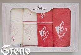 Komplet 6 Ręczników Haftowanych w Ozdobnym Pudełku na Prezent Arten VI Greno malina, dzwoneczek