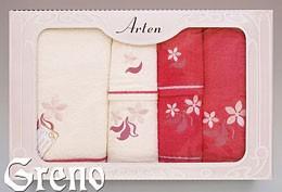 Komplet 6 Ręczników Haftowanych w Ozdobnym Pudełku na Prezent Arten VI Greno malina, just