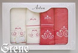 Komplet 6 Ręczników Haftowanych w Ozdobnym Pudełku na Prezent Arten VI Greno malina, secesja