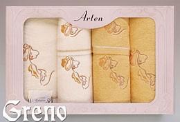 Komplet 6 Ręczników Haftowanych w Ozdobnym Pudełku na Prezent Arten VI Greno żółty, deco
