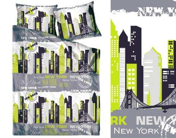 NEW YORK LIMONKA Pościel satynowa Greno